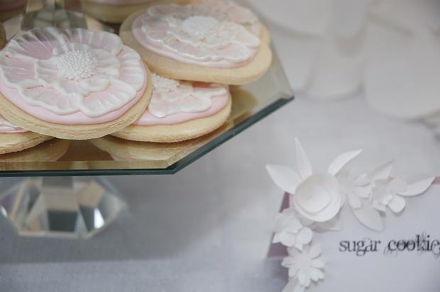 secret garden baby shower, baby girl pink mousse, cookies, russian tea cakes, pink cookies