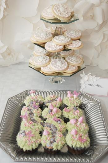 secret garden baby shower, baby girl pink mousse, cookies, russian tea cakes, secret garden party dessert table