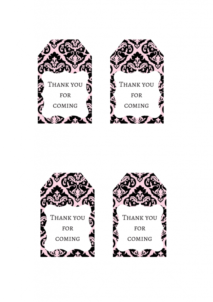 FREE Pink Damask Favor Tag | Thank you Tag