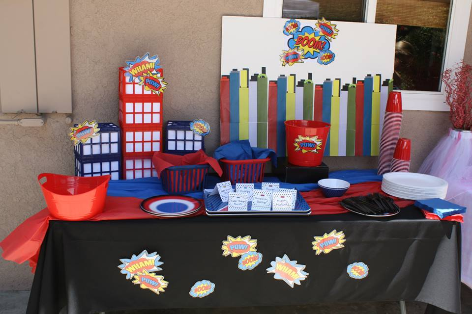 superheroes birthday party, calling all Princesss Superheros Birthday Party table, spider decor, superman cape 6