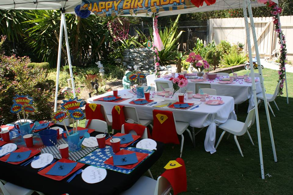 superheroes birthday party, calling all Princesss Superheros Birthday Party table, spider decor, superman cape 7