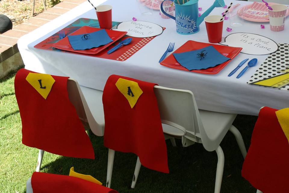 superheroes birthday party, calling all Princesss Superheros Birthday Party table, spider decor, superman cape