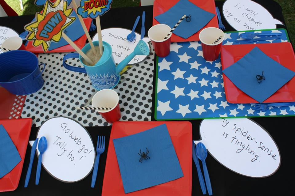 superheroes birthday party, calling all Princesss Superheros Birthday Party table, spider decor