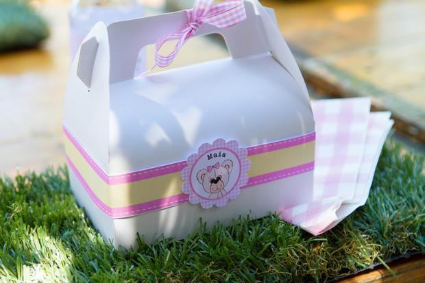 teddy bears picnic party, grass mat, favor boxes