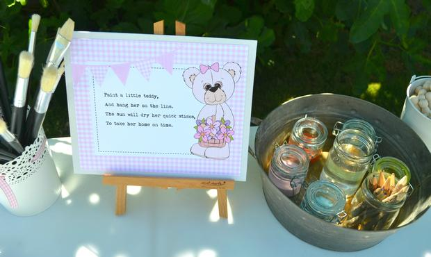 teddy bears picnic party paper decoration, perfect for teddy bear themed baby shower, teddy bear first birthday party