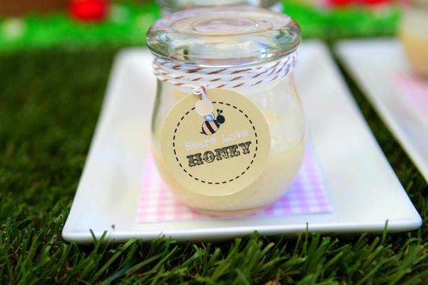 teddy bears picnic party table setting, cute sign, amazing dessert table, teddy cake, honey jars with baker twines
