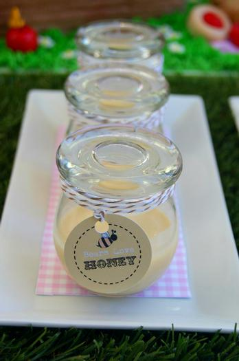 teddy bears picnic party table setting, cute sign, amazing dessert table, teddy cake, honey jars