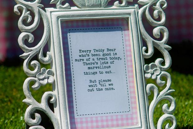 teddy bears picnic party table setting, cute sign