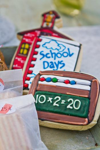 vintage bake sale styling shoot sign mini apple pies desserts sprinkled donuts school days cookies