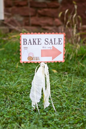 vintage bake sale styling shoot sign