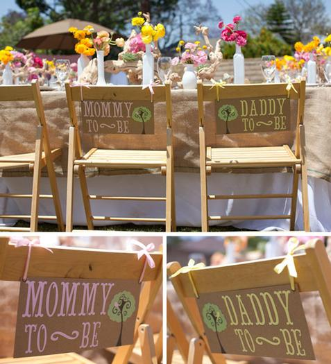 woodland baby shower ideas by marci via babyshowerideas4u daddy-to-be and mommy-to-be chairs