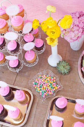 woodland baby shower ideas by marci via babyshowerideas4u setting the cake dessert table pink