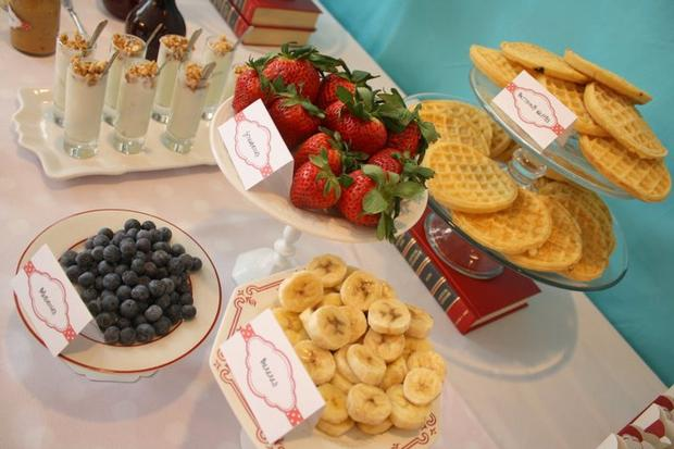 Aqua Sock Monkey Baby Shower, food table