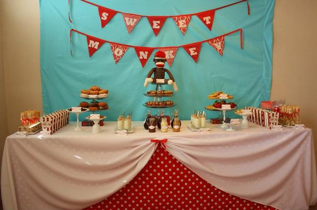 Aqua Sock Monkey Baby Shower ideas, dessert table