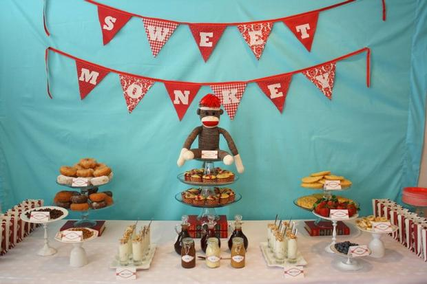 Aqua Sock Monkey Baby Shower