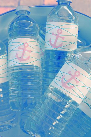 Nautical, Preppy & Pink Baby Shower nautical water bottle labels