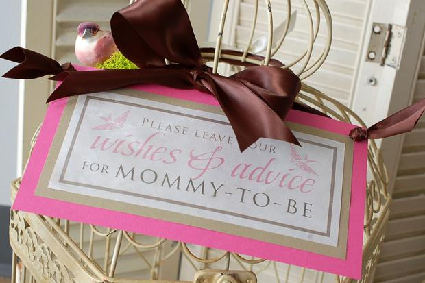Nesting Themed Baby Shower, Bird baby shower, bird cage decor, wishes for mommy to be and baby