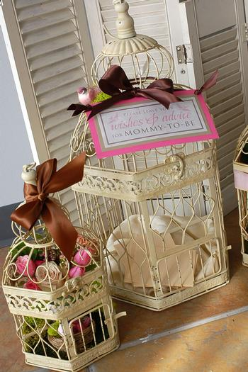 Nesting Themed Baby Shower, Bird baby shower, bird cage decor