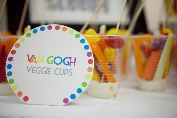 Rainbow Art Baby Shower, veggies cups