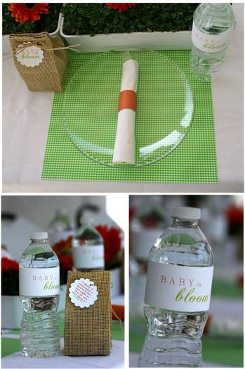 Spring Baby Shower, table setting to match the flowers, outdoor baby shower ideas