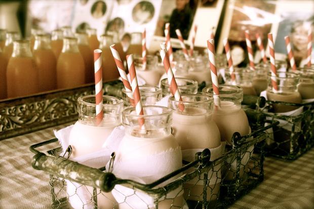 cowgirl baby shower brunch, button cookies, sandwiches, toffee apple, vintage milk jars