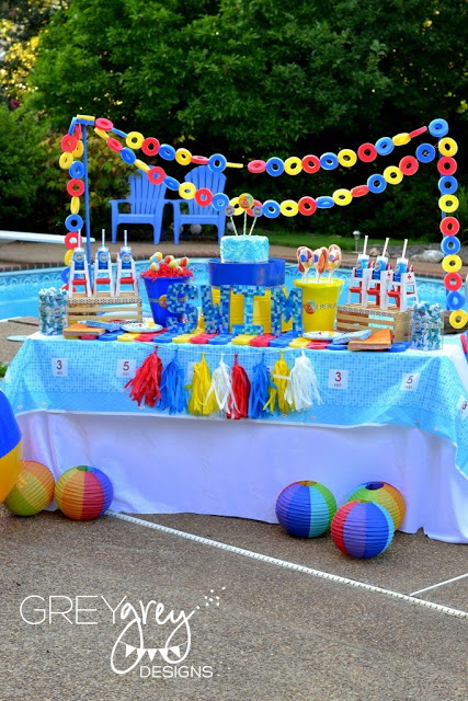dessert table, summer pool party ideas