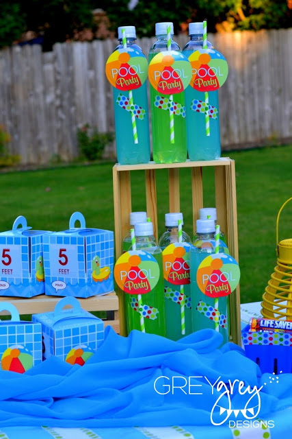 drinks, boxes, summer pool party ideas