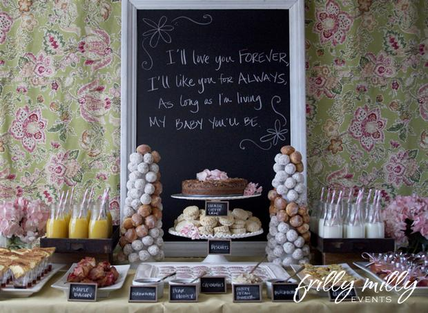 farmhouse brunch dessert table,  chalkboard party labels, chalkboard party ideas