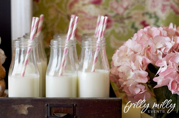 farmhouse party ideas, french toast treats, milk jar in vintage tray