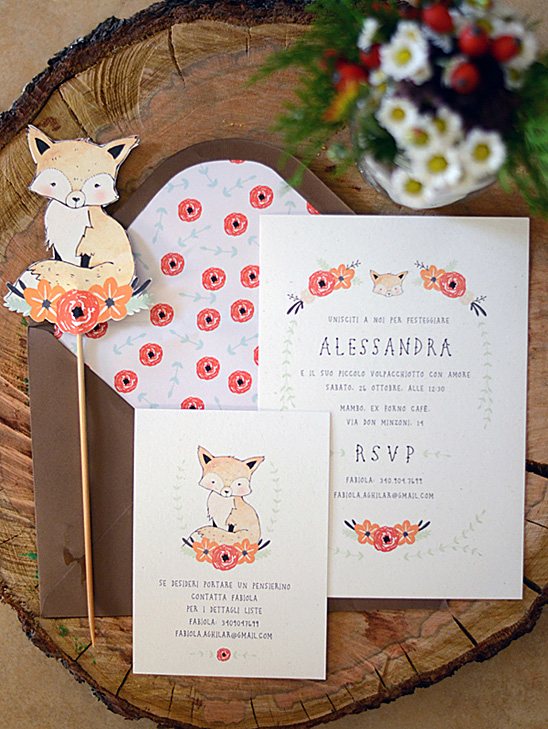 Red and Orange Fox and Floral Invitation