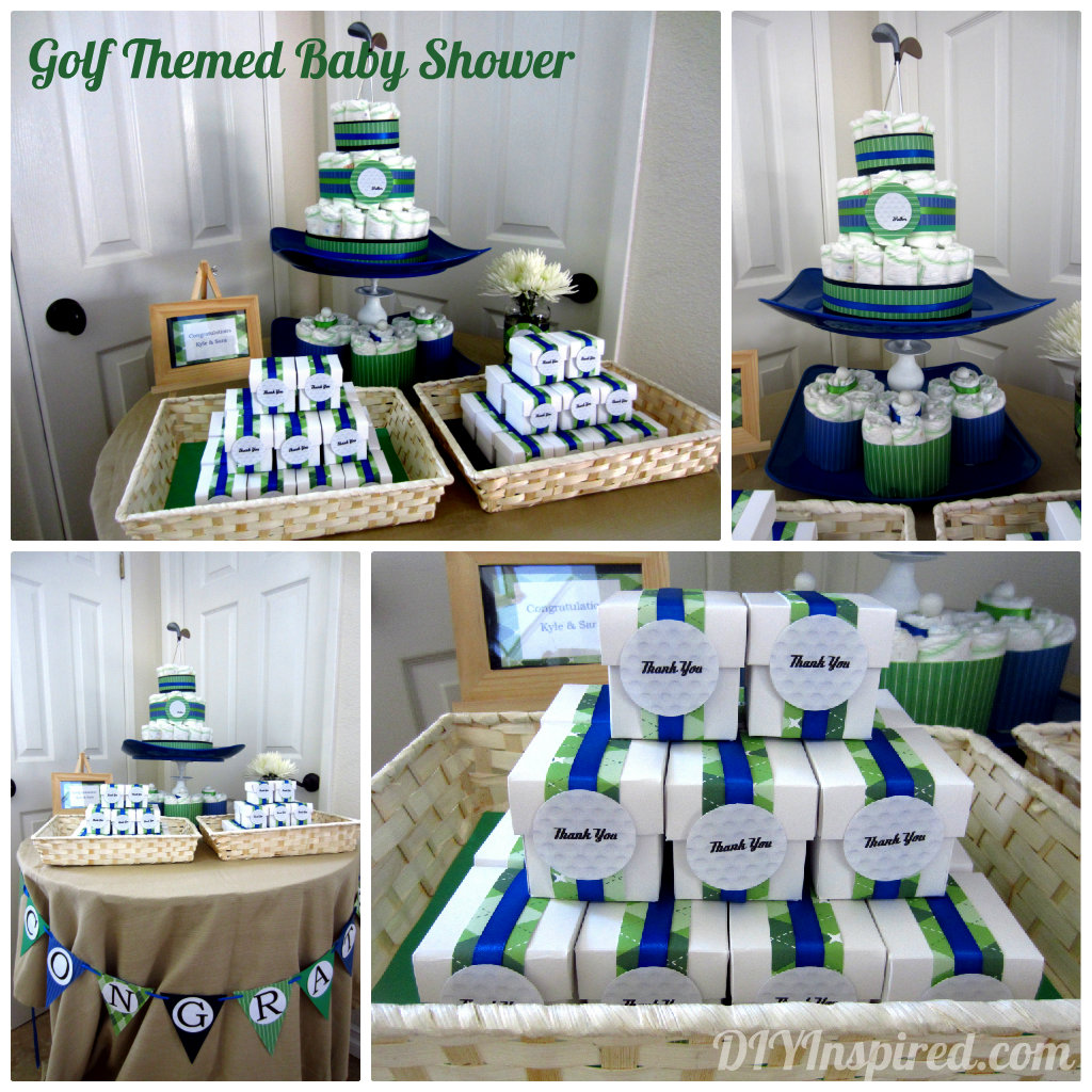 golf themed baby shower ideas, daddy's little caddy, golf themed diaper cake