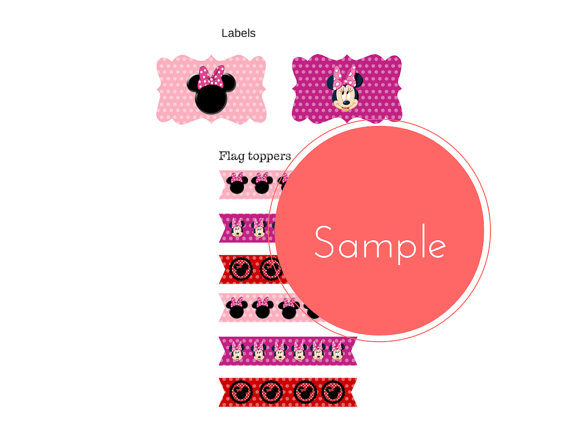 free minnie mouse baby shower labels and toppers