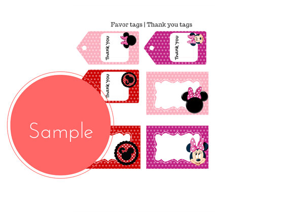 free minnie mouse baby shower favor tags