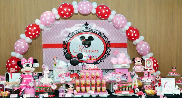 pink red minnie mouse party ideas, pink minnie mouse themed birthday party, minnie mouse themed party