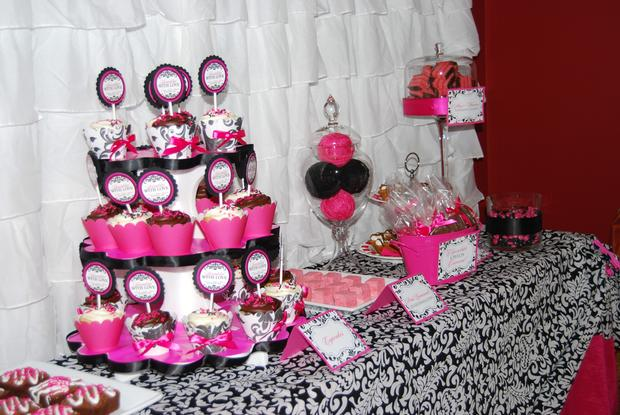 sprinkled with love baby shower, white and black damask baby shower ideas, decorations, damask labels, hot pink and black, dessert table