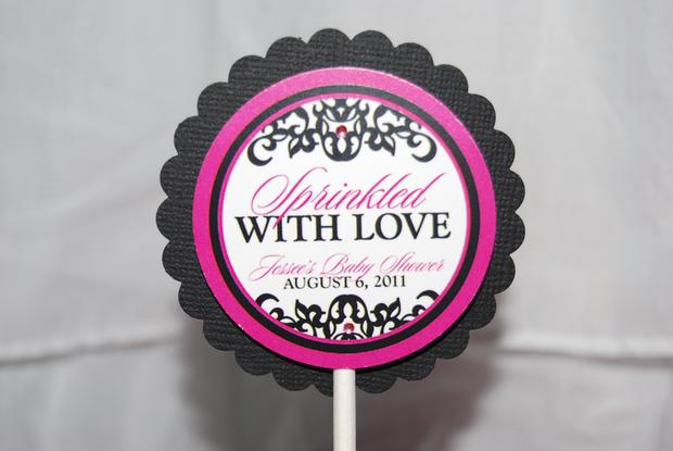 sprinkled with love baby shower, white and black damask baby shower ideas, decorations, damask labels, toppers
