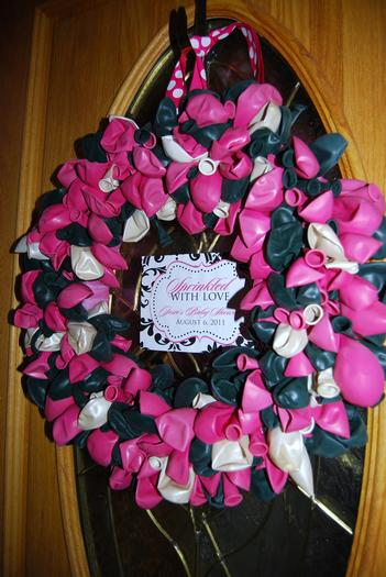 sprinkled with love baby shower, white and black damask baby shower ideas, decorations