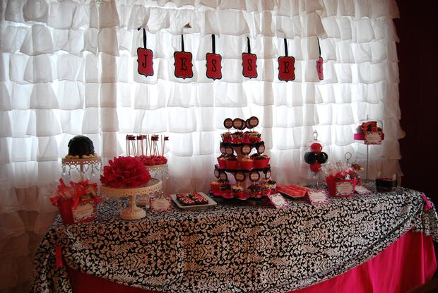 sprinkled with love baby shower, white and black damask baby shower ideas, table