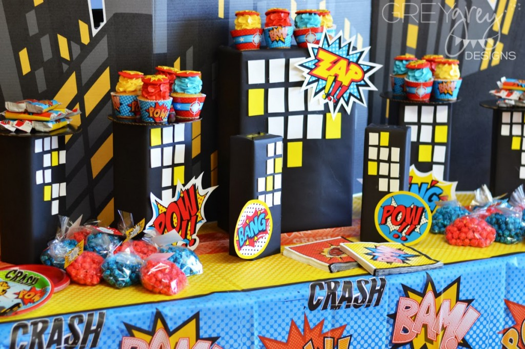 superhero birthday party ideas, backdrop