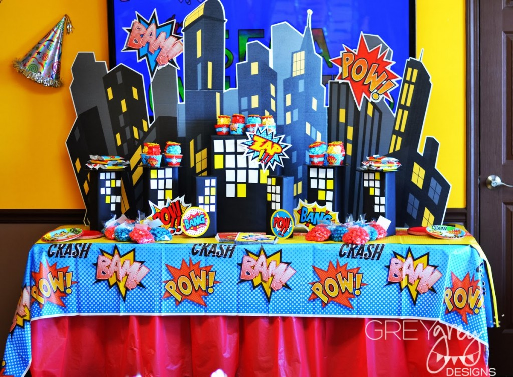 superhero birthday party ideas, dessert table with amazing backdro