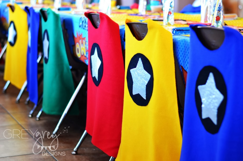 superhero birthday party, super hero decoration inspirations, bright colors, super hero cape