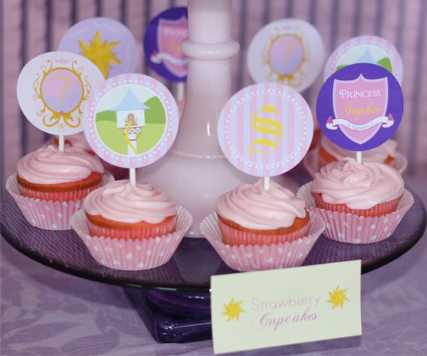 Strawberry Cupcakes with Cutout Toppers