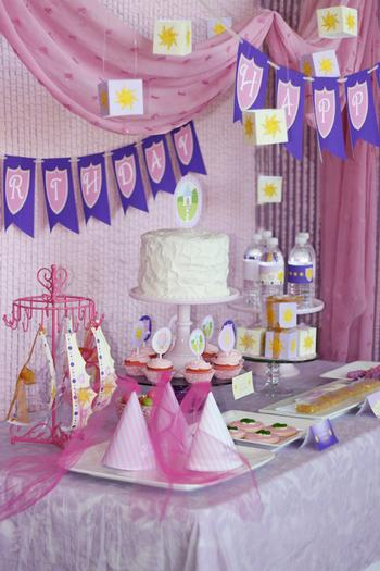 tangled princess birthday party, baby shower ideas