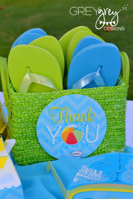 thank you sandles, pool party favors