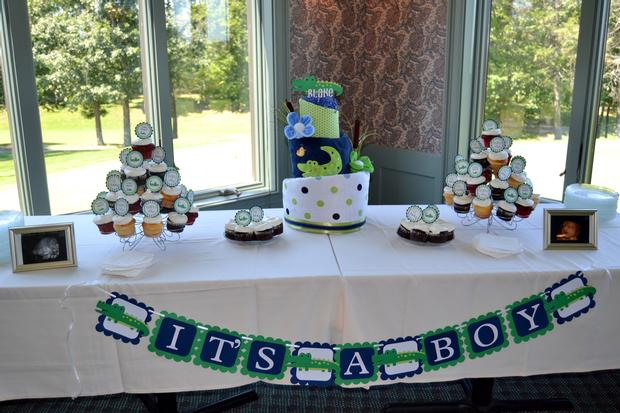 Alligator Baby Shower dessert table