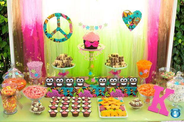 Peace Love and Owls Birthday dessert table