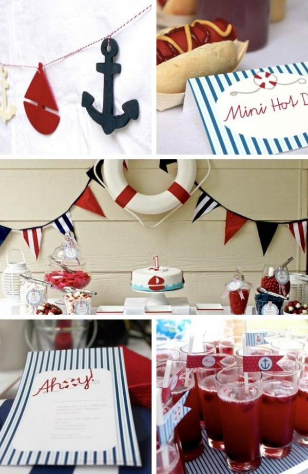 Red and Blue Nautical Party tablescape