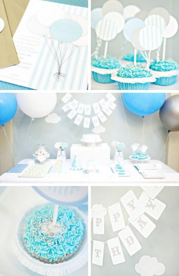 Soft Cloud and Blue Balloon Party tablescape