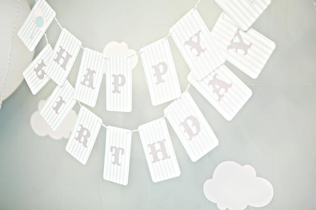 balloon themed first birthday banner