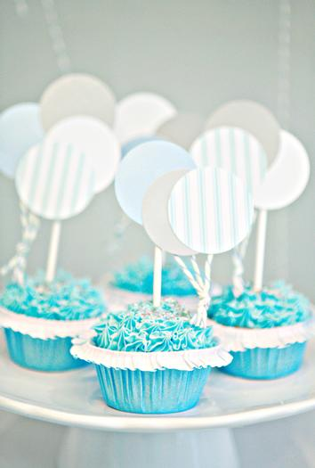 Soft colored balloon cupcake toppers